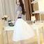 ชุดเดรสยาวสวยหรู โทนสีน้ำเงินขาว ปักลายสวยเก๋ เอวคาด กระโปรงสีขาวผ้าชีฟอง thumbnail 6