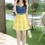 ชุดเดรสสั้นแฟชั่นเกาหลี สีเหลือง เสื้อแต่งเป็นผ้ายีนส์เย็บต่อด้วยกระโปรงผ้าแก้ว เป็นชุดเดรสแนวหวานน่ารัก สวย เรียบร้อย ดูดี ( S M L XL ) thumbnail 8