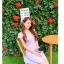 ชุดเดรสทำงานสีชมพูแนวหวานน่ารักๆ สีม่วงลายจุด แขนสั้น กระโปรงบาน thumbnail 2