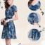 ชุดเดรสทำงานโทนสีน้ำเงินเขียว ลายดอกไม้ ผ้าชีฟอง แขนสั้น เรียบร้อยสวยหรู thumbnail 10