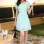 ชุดเดรสลูกไม้สีเขียว คอกลม แขนสั้น แนวเกาหลี สวยหวาน น่ารักๆ thumbnail 9