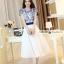 ชุดเดรสยาวสวยหรู โทนสีน้ำเงินขาว ปักลายสวยเก๋ เอวคาด กระโปรงสีขาวผ้าชีฟอง thumbnail 5
