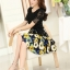 ชุดเดรสสั้นลายดอกไม้ เสื้อผ้าลูกไม้สีดำ เย็บต่อด้วยกระโปรงสั้นลายดอกไม้สีเหลือง เป็นชุดเดรสแฟชั่นน่ารักๆ สไตล์เกาหลี ( S,M,L,XL,) thumbnail 4