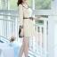 ชุดเดรสทำงานสวยๆสไตล์แฟชั่นเกาหลี สีเบจ คอกลมลายสก๊อต แขนยาว เป็นชุดทำงานออฟฟิศ(บริษัท),คุณครู,ราชการ ให้ลุคสวยหวาน น่ารักๆ ดูเรียบร้อย ( M L XL ) thumbnail 3