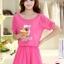 ชุดเดรสสั้นน่ารักๆ สีชมพู ผ้าชีฟอง สกรีนตัวเลข คอกลม เอวยืด ซับใน ขนาดไซส์ XL thumbnail 1