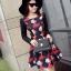 ชุดเดรสทำงานสีแดงพิมพ์ลายตุ๊กตาผู้หญิง แขนยาว คอกลม เอวเข้ารูป สวยหวาน thumbnail 5