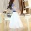 ชุดเดรสยาวสวยหรู โทนสีน้ำเงินขาว ปักลายสวยเก๋ เอวคาด กระโปรงสีขาวผ้าชีฟอง thumbnail 4