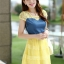 ชุดเดรสสั้นแฟชั่นเกาหลี สีเหลือง เสื้อแต่งเป็นผ้ายีนส์เย็บต่อด้วยกระโปรงผ้าแก้ว เป็นชุดเดรสแนวหวานน่ารัก สวย เรียบร้อย ดูดี ( S M L XL ) thumbnail 4