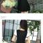ชุดเดรสสั้นสีดำ แขนสั้นสีขาว คอวี เอวเข้ารูป กระโปรงบานน่ารัก thumbnail 4