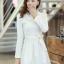 ชุดเดรสสั้นแฟชั่นเกาหลี มินิเดรสสั้นสีขาว คอปักมุก แขนยาว เป็นชุดเดรสสวยๆ แนวหวานน่ารัก เรียบร้อย ดูดี สามารถใส่ออกงานได้ ( M L XL ) thumbnail 3