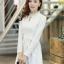 ชุดเดรสสั้นแฟชั่นเกาหลี มินิเดรสสั้นสีขาว คอปักมุก แขนยาว เป็นชุดเดรสสวยๆ แนวหวานน่ารัก เรียบร้อย ดูดี สามารถใส่ออกงานได้ ( M L XL ) thumbnail 4