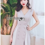 🎀 Lady Ribbon's Made 🎀Lady Penelope Cruise-Style Double-Breasted Cut-Out Dress