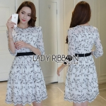 🎀 Lady Ribbon's Made 🎀Lady Blaire Neutral Black and White lower Embroidered Dress