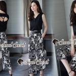 Seoul Secret Say's... Leaffy Print Pants Open Back Cami Set