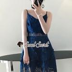 Seoul Secret Say's... Saphirly Blue Lace Blossom Cami Dress