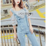 🎀 Lady Ribbon's Made 🎀Lady Isabelle Denim Overall Jumpsuit and Cotton Camisole Set