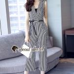 Seoul Secret Say's... Chic V Suite Collar Stripy Playsuit