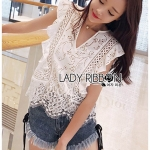 🎀 Lady Ribbon's Made 🎀Lady Lola Sweet Vintage Ruffle White Lace Top