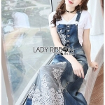 🎀 Lady Ribbon's Made 🎀Lady Tanya White T-Shirt and Sequin Embroidered Denim and Lace Overall Dress Set