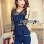 Lady Ribbon Korea Dress LR03060616 &#x1F380 Lady Ribbon's Made &#x1F380 Lady Kimberley Smart and Sexy Black Lace with Denim Set เ thumbnail 4