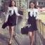 Lady Ribbon Korea Brand SV13060616 Cool Item-Restock &#x1F389Sevy Ribbon Neck Long Sleeve Contrast Bust Mini Dress thumbnail 3