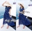 &#x1F380 Lady Ribbon's Made &#x1F380 Lady Ribbon Blue & White Stripe Pleatpleats Maxi Dress Korea thumbnail 3