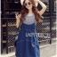 Lady Ribbon Korea Denim Dress LR21130616 &#x1F380 Lady Ribbon's Made &#x1F380 Lady Alexa Street Chic Striped T-Shirt with Denim Overall Dress thumbnail 2