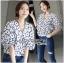 Lady Ribbon Cotton Korea Dress Blouse thumbnail 1