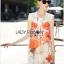 Lady Ribbon's Made &#x1F380 Lady Kimberley Smart Casual Holiday Orange Flower Printed Chiffon thumbnail 4