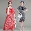 Lady Ribbon Korea Closet LV02090616 &#x1F36D Korea Design By Lavida ethnic leaf printed rope neck loose feminine dress thumbnail 1