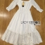 Lady Ribbon Korea Dress Lady Ribbon's Made Lady Paula Pure Princess Laser-Cut Off-Shoulder Cotton Maxi Dress thumbnail 6