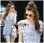 Lady Ribbon Korea Dress ผ้าลูกไม้ LR10200616 &#x1F380 Lady Ribbon's Made &#x1F380 Lady Sophie Sweet Casual Baby Blue Lace Top and Shirts Set thumbnail 1