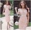 Lady Ribbon Korea Dressเสื้อผ้า LR21010816 &#x1F380 Lady Ribbon's Made &#x1F380 Lady Gabriella Sexy Feminine Flower Embroidered Pinky Dress เดรสผ้าลูกไม้สีชมพู thumbnail 3