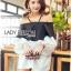 Lady Ribbon Korea Dress Korea Shop LR03390616 &#x1F380 Lady Ribbon's Made &#x1F380 Lady Stella Minimal Monochrome Off-Shoulder Cotton Long Shop thumbnail 3