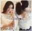 Lady Ribbon Dress Lady Ribbon Korea LR20190516 &#x1F380 Lady Ribbon's Made &#x1F380 Lady Stephanie Little Sunshine White and Yellow Floral Cropped Top ลูกไม้ thumbnail 2