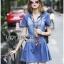 Lady Ribbon Korea Denim Dress LR18130616 &#x1F380 Lady Ribbon's Made &#x1F380 Lady Erin Casual Denim Shirt Dress with Printed Satin Scarf thumbnail 3