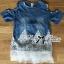 Lady Ribbon Dress LR13120516 &#x1F380 Lady Ribbon's Made &#x1F380 Lady Carrey Crystal Embellished Cut-Out Shoulder Insert Lace Denim Set thumbnail 3