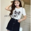 : Lady Ribbon Dress LR06120516 &#x1F380 Lady Ribbon's Made Dress Denim &#x1F380 Lady Lizzy Kitten Embroidered with Crystal Embellished Cotton Dress Denim Jersey T-Shirt thumbnail 3