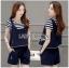 Lady Ribbon เสื้อผ้าเกาหลี LR10140716 &#x1F380 Lady Ribbon's Made &#x1F380 Lady Charlotte Striped Top with Ripped Tank Korea Top and Shorts Set เซ็ตเสื้อลาย thumbnail 2
