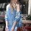 Lady Ribbon Korea Dress &#x1F380 Lady Ribbon's Made &#x1F380 Ashley Summery Off-Shoulder Denim Cotton and Lace Dress เดรสเปิดไหล่ thumbnail 3