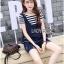 Lady Ribbon เสื้อผ้าเกาหลี LR10140716 &#x1F380 Lady Ribbon's Made &#x1F380 Lady Charlotte Striped Top with Ripped Tank Korea Top and Shorts Set เซ็ตเสื้อลาย thumbnail 3