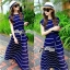 &#x1F380 Lady Ribbon's Made &#x1F380 Lady Ribbon Blue & White Stripe Pleatpleats Maxi Dress Korea thumbnail 2