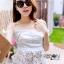 Lady Ribbon Closet เสื้อผ้าเกาหลี LR06140716 &#x1F380 Lady Ribbon's Made &#x1F380 Self-Portrait Off-Shoulder White Lace Corset เสื้อเปิดไหล่ thumbnail 4