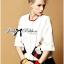 Lady Ribbon's Made &#x1F380 Lady Julianna Sassy Embellished Surreal Print Blouse thumbnail 4