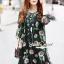 Closet Seoul Secret Say's... Emerald Gemmy Flora Black Dress thumbnail 2