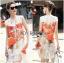 Lady Ribbon's Made &#x1F380 Lady Kimberley Smart Casual Holiday Orange Flower Printed Chiffon thumbnail 3