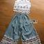 Lady Ribbon Korea Denim Dress LR22130616 &#x1F380 Lady Ribbon's Made &#x1F380 Lady Chloe White Flower Lace Top and Denim Culottes Set thumbnail 5