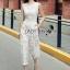 Lady Ribbon เสื้อผ้าเกาหลี LR06110716 &#x1F380 Lady Ribbon's Made &#x1F380 Lady Katy Smart Casual White Guipure Lace Jumpsuit thumbnail 4