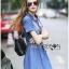 Lady Ribbon Korea Denim Dress LR18130616 &#x1F380 Lady Ribbon's Made &#x1F380 Lady Erin Casual Denim Shirt Dress with Printed Satin Scarf thumbnail 4