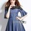 Lady Ribbon Korea Dress LR06160616 &#x1F380 Lady Ribbon's Made &#x1F380 Lady Stella Smart Casual Black Lace and Denim Dress thumbnail 3